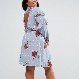 Asos Ruffle Front Shirt In Spot and Floral Dress